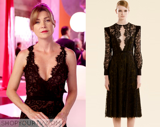 Greys Anatomy Season 10 Episode 4 Merediths Black Lace Gown