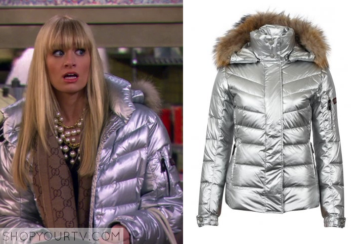 2 Broke Girls: Season 3 Episode 14 Caroline's Silver Puffer Jacket |
