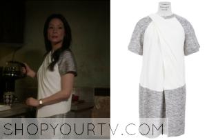 Elementary: Season 2 Episode 12 Joan's Grey and White Drape Dress