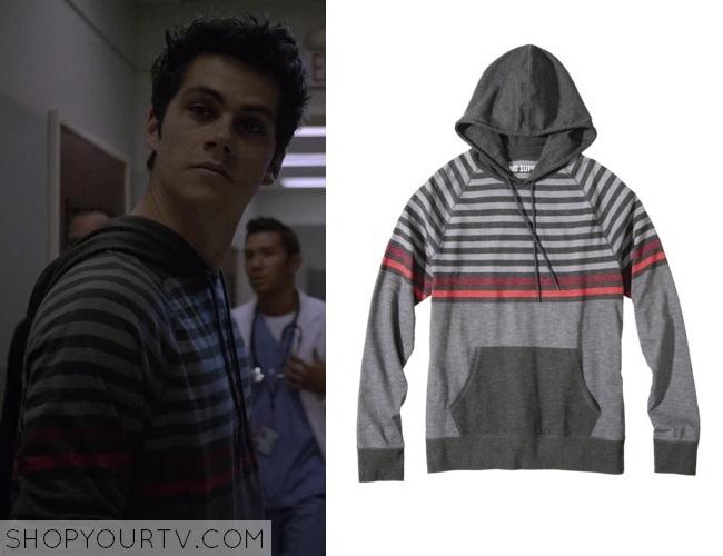 teen wolf season 3 episode 18 stiles grey striped hoodie. Black Bedroom Furniture Sets. Home Design Ideas
