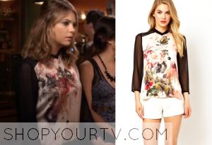 Pretty Little Liars: Season 4 Episode 18 Hanna's Contrast Sleeve Floral Top