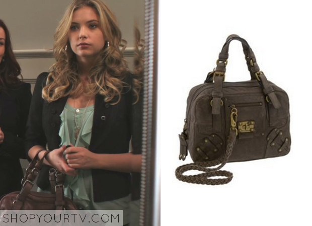 11731c251c Hanna Marin (Ashley Benson) wears this brown buckled bag in this episode of Pretty  Little Liars.