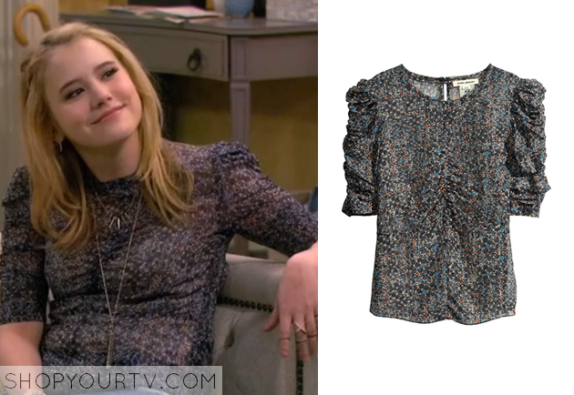 7e293fe5c4fca8 Silk blouse White H M Source · Melissa and Joey Season 3 Episode 30 Lennox  s Grey Printed Blouse