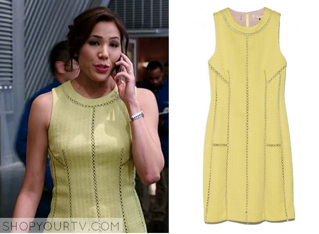angela yellow cut out dress