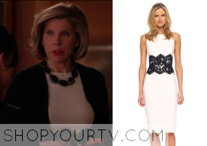 The Good Wife: Season 5 Episode 21 Diane's White Lace Middle Dress