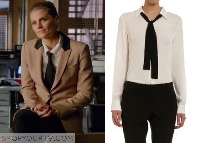 Castle: Season 6 Episode 21 Kate's White Neck Tie Blouse