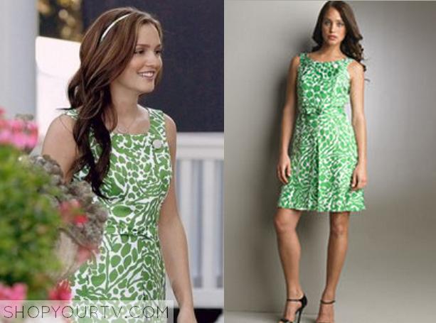 8d18c01f2b Gossip Girl  Season 2 Episode 1 Blair s Green Printed Dress