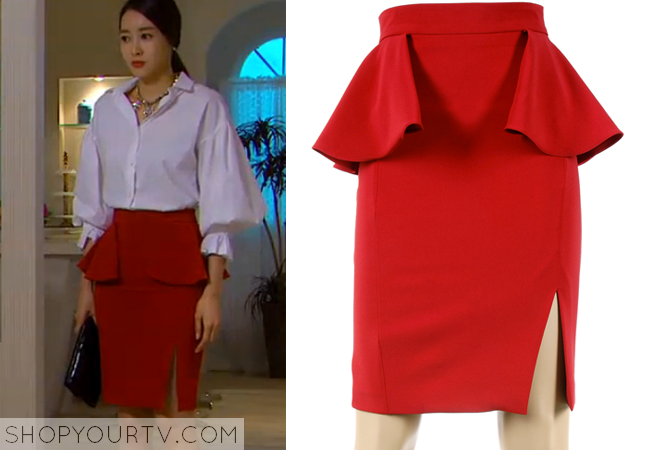 Song Chae Kyung's Red Peplum Skirt