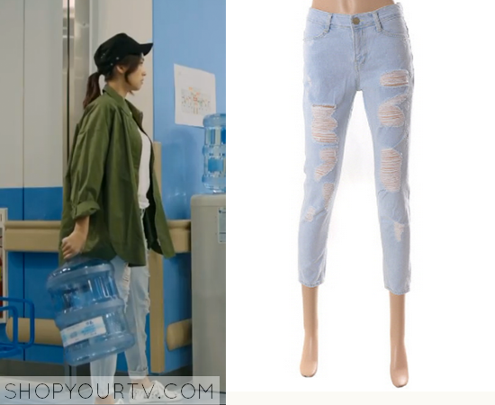 Lee Chang Yi's Light Distressed Jeans