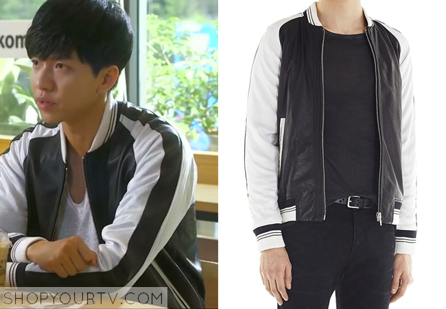 Eun Dae Koo's Black and White Leather Jacket