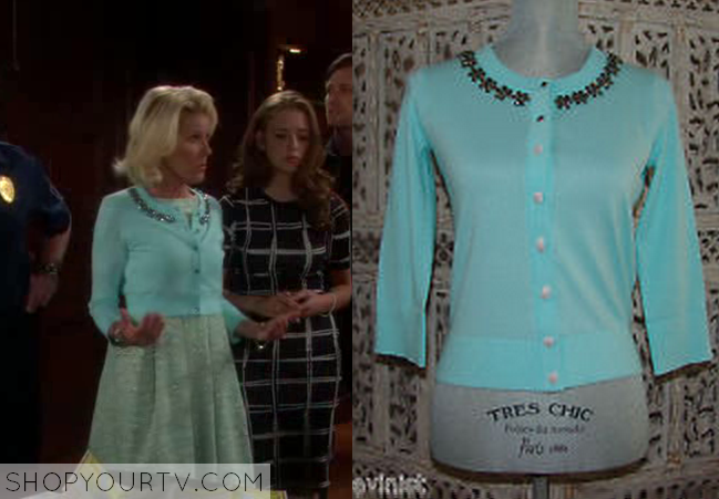 Bold And The Beautiful 9th June 2014 Pam S Blue Embellished Cardigan Shop Your Tv Fitted cardigan with a scooped neckline and a cropped silhouette. bold and the beautiful 9th june 2014