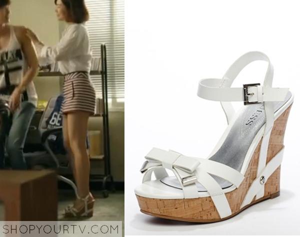 Song Jae Hee's White Wedge Sandals