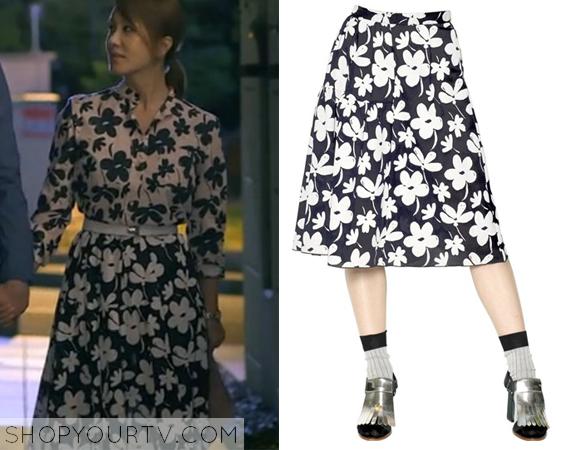 Ban Ji Yeon's Black and White Floral Print Skirt