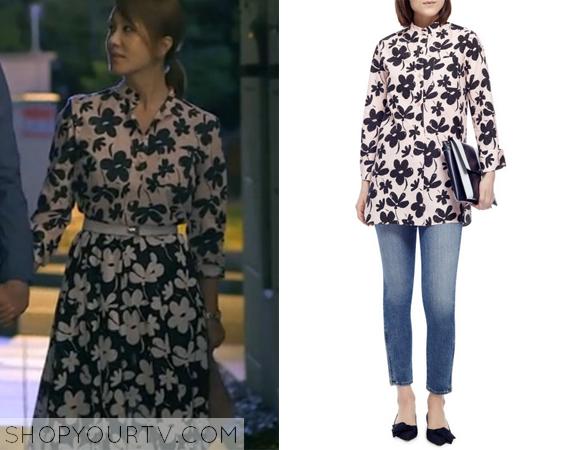 Ban Ji Yeon's Pink and Navy Floral Shirt