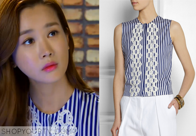 Ah Mo Ne's Sleeveless Blue Striped Top