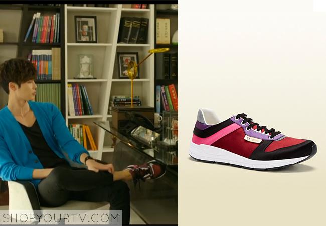 Park Hoon's Black, Red, and Purple Sneakers