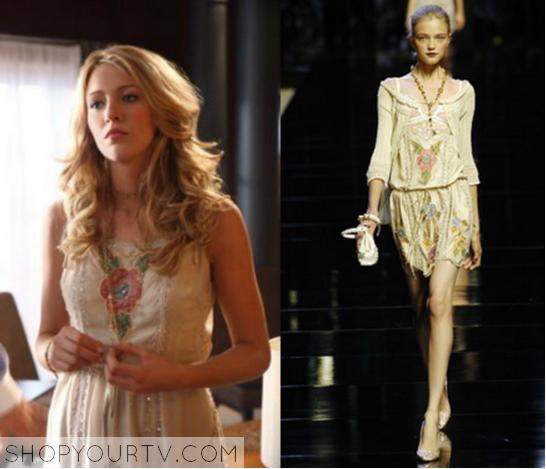 099053cf28 Gossip Girl  Season 1 Episode 2 Serena s Cream Floral Print Dress
