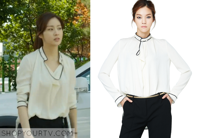 Oh Soo Hyun's Pearl Embellished White Blouse