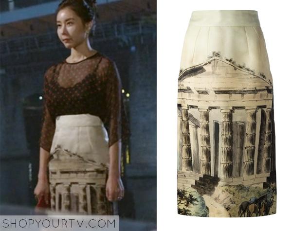 Hong Sa Ra's Temple Print Skirt