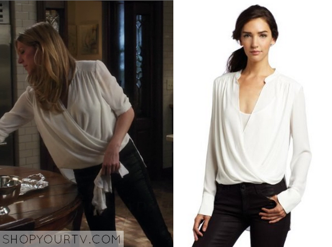 Mistresses: Season 2 Episode 6 Josslyn's White Wrap Blouse |