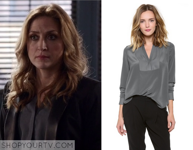 maura grey silk blouse