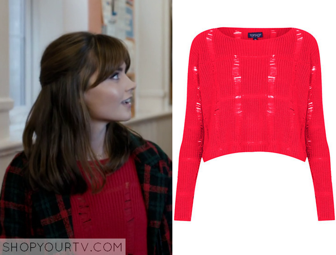 clara red ripped sweater