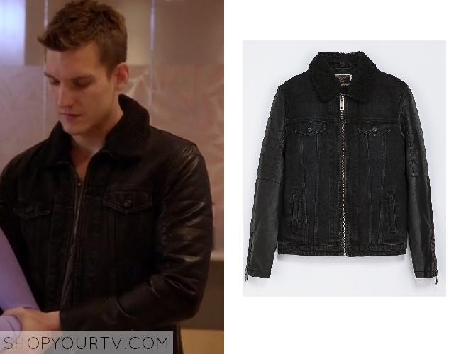 3227c282 Chasing Life: season 1 episode 10 Leo's denim and leather jacket ...