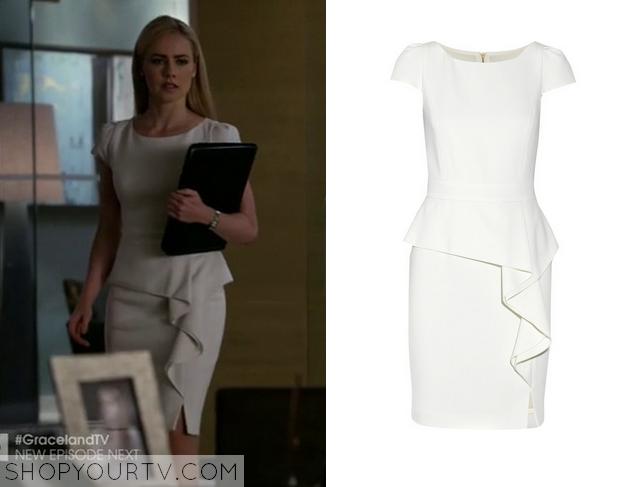 white ruffle front dress