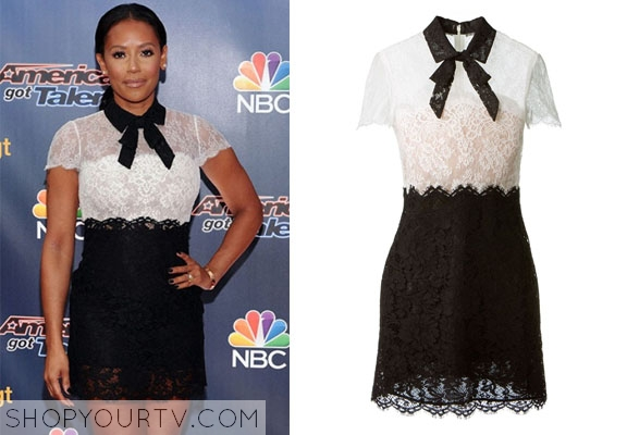 86b3bda26 America's Got Talent: Season 9 Mel B's Black and White Lace Dress ...