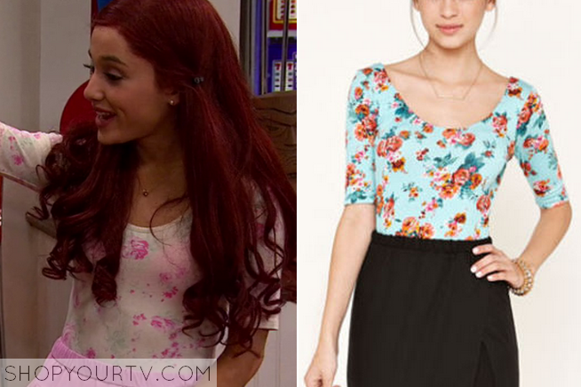Cat Valentine (Ariana Grande) wears this Pink Flower Black Bandeau Peplum top, in this weeks episode of Sam & Cat. It is the Pins And Needles Strapless Elastic-Back Peplum Top. INSPIRATION - I really love the vintage style of this fabric!