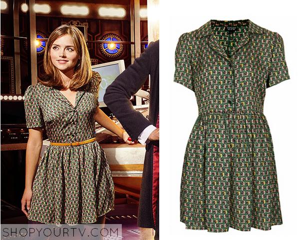 clara green print dress