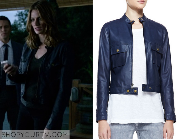 kate beckett blue leather jacket