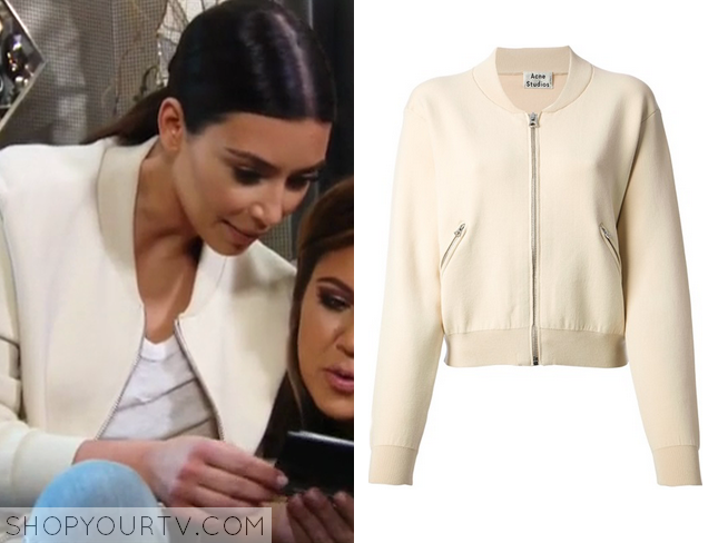 Shop Your TV: KUWTK: Season 9 Episode 19 Kim's Cream Bomber Jacket