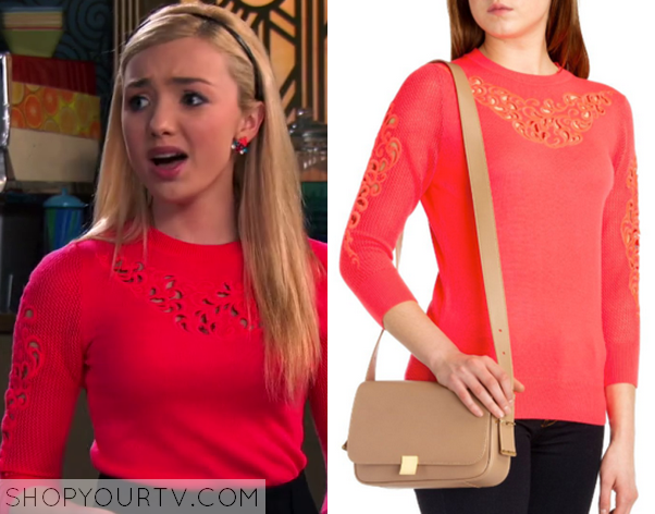 a7788821ddf Jessie  Season 3 Episode 22 Emma s Laser Cut Out Embroidery Red Knitted  Sweater