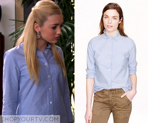 88782781baa Jessie  Season 3 Episode 22 Emma s Embellished Collar Button Up Blue Shirt