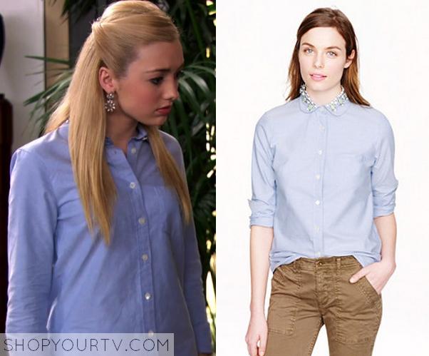 3x22 Peyton List Emma Ross Embellished Collar Blue Button up Shirt