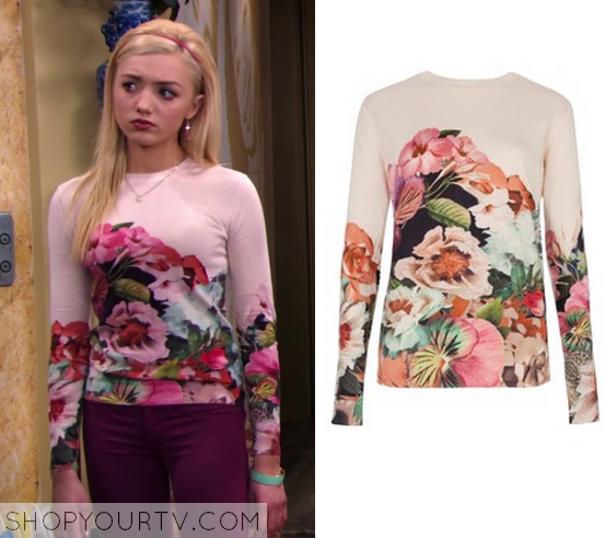 16965fd31e2 Jessie  Season 3 Episode 24 Emma s Pink Floral Printed Long Sleeved Top
