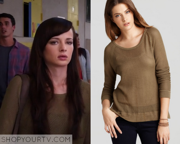 4x17 Awkward Jenna Hamilton Ashley Rickard Khaki Crochet Sweater