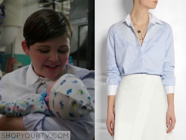 Once Upon a Time: Season 4 Episode 2 Mary Margaret's Blue Embroidered Shirt