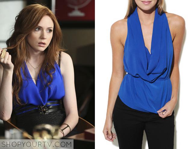 eliza blue drap neck blouse