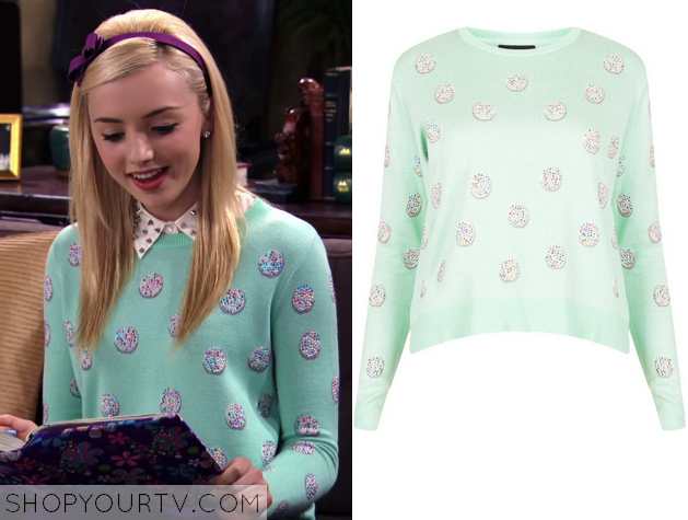 8224c278ef1 Jessie  Season 3 Episode 8 Emma s Green Rainbow Dot Sweater