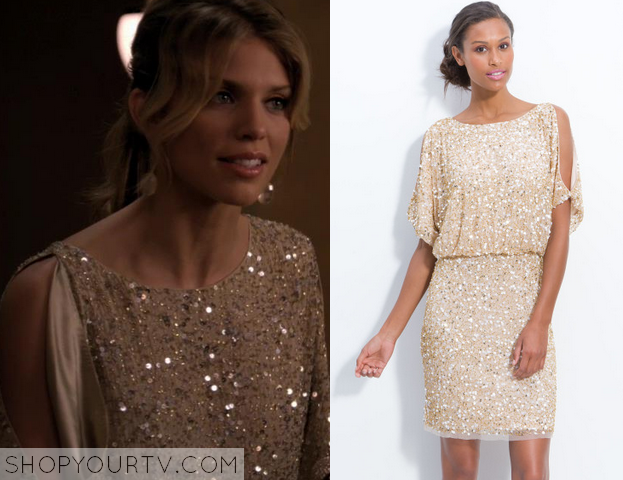 4cc9cba9a81 It is the Aidan Mattox Bloused Cold Shoulder Sequin Dress in Beige. Sold  Out.