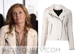 Nashville: Season 3 Episode 3 Rayna's White Leather Zip Jacket