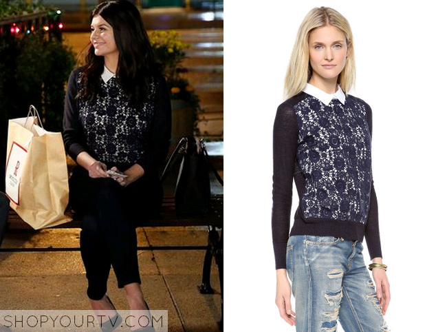 annie navy lace sweater