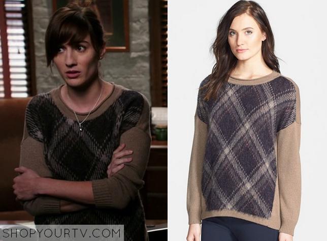 brown plaid sweater
