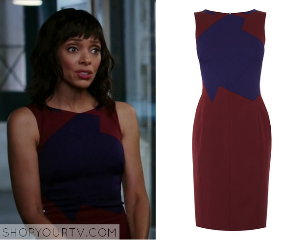camille blue red colorblock dress