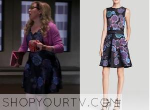 Criminal Minds: Season 10 Episode 8 Garcia's Navy Printed Dress