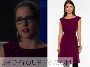 Arrow: Season 3 Episode 7 Felicity's Purple Pleat Neck Dress