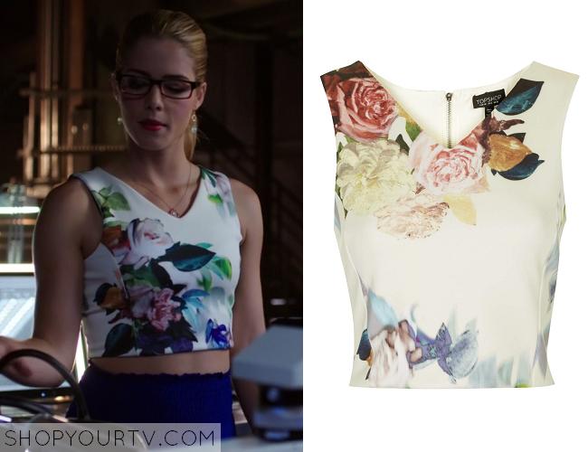 Arrow Season 3 Episode 5 Felicitys White Floral Crop Top Shop