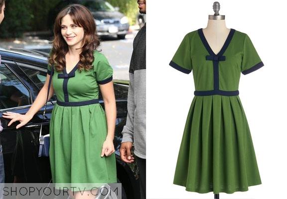 c32693e7fa New Girl  Season 4 Episode 8 Jess s Green Dress with Navy Trim ...
